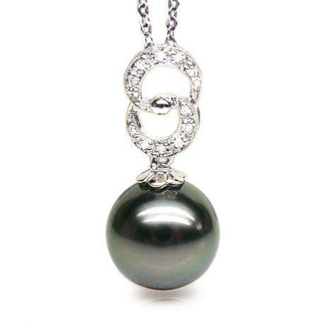 Pendentif élégance - anneaux 8 - Perle de Tahiti - Or blanc, diamants