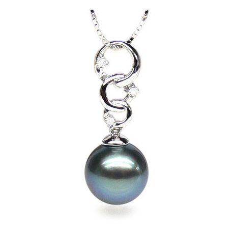 Pendentif Moorea - 3 anneaux - Perle de Tahiti - Or blanc, diamants
