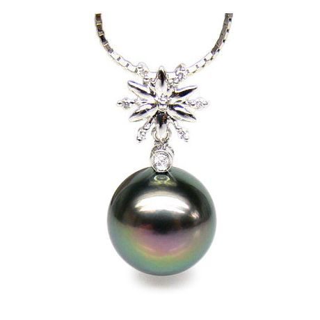 Pendentif or blanc forme étoile - Perle de Tahiti 10/11mm - Diamants