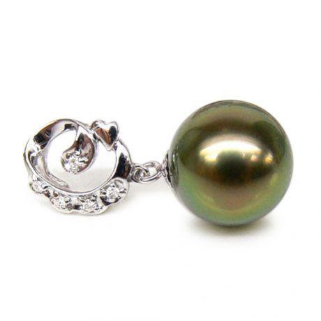 Pendentif création exclusive - Perle de Tahiti - Or blanc, diamants