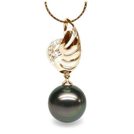 Pendentif aile - Symbole liberté - Perle de Tahiti - Or jaune, diamants
