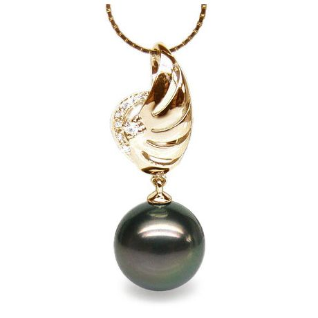 Pendentif symbole liberté - Pendentif aile perle de Tahiti - Or jaune, diamants