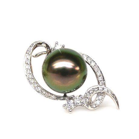 Pendentif perle Tahiti - Perle noire, paon aubergine - Or blanc, diamants