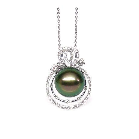 Pendentif 3 coeurs - Amour - Perle de Tahiti - Or blanc, diamants