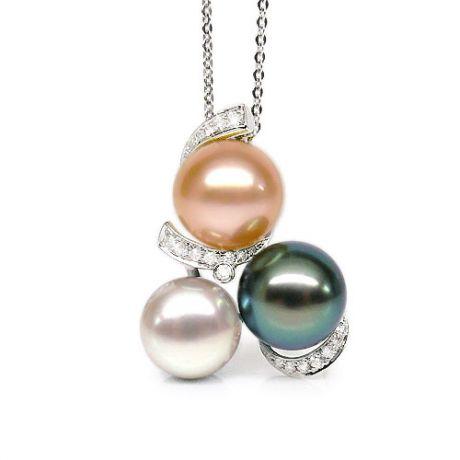 Pendentif trilogie - Perle Tahiti, perles eau douce - Or blanc, diamants