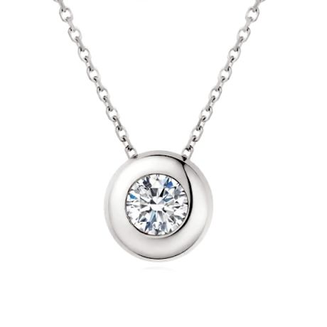 Pendentif solitaire or blanc - Solitaire collier diamant clos personnalisable