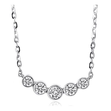 Collier pendentif Or blanc. 5 diamants sertis clos 0.26ct