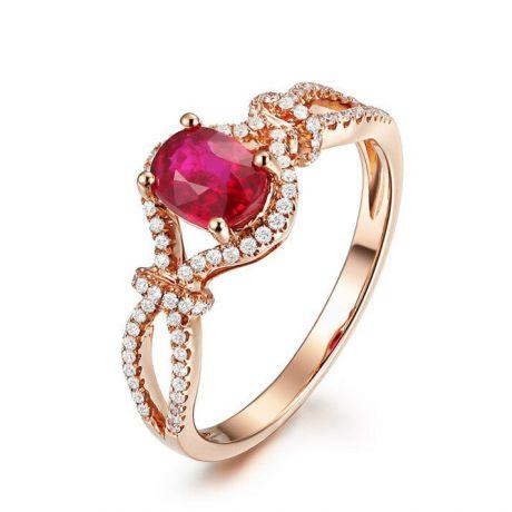 Bague rubis 1 carat or rose. Diamants sertis