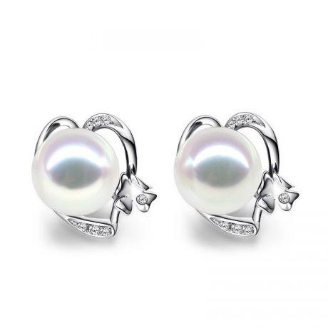 Boucles d'oreilles clous - Perles Akoya - Or blanc et Diamants