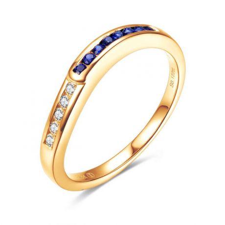 Bague Duale diamants saphirs et Or jaune