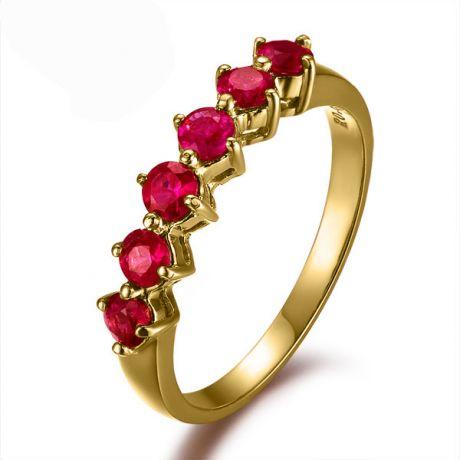 Bague rubis de Birmanie or jaune - 6 rubis alignés en style