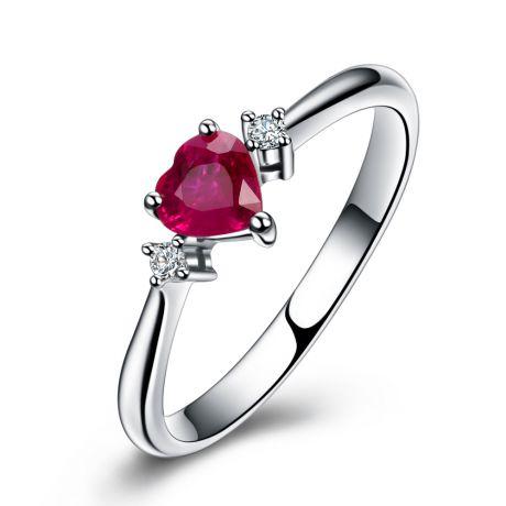 Bague Mon Petit Coeur d'Amour - Rubis, diamants, or blanc