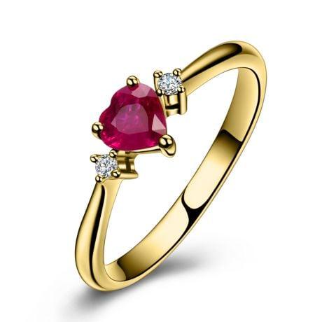 Bague Mon Petit Coeur d'Amour - Rubis, diamants, or jaune