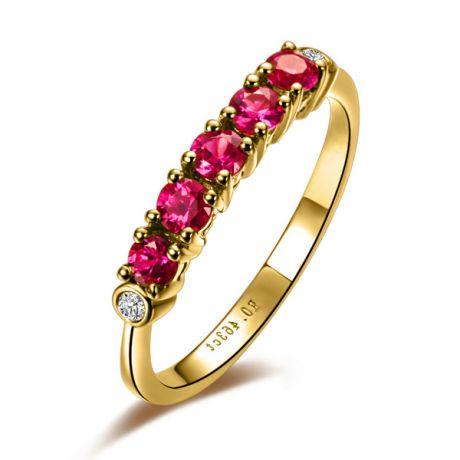 Bague rubis diamants - Sophistiquée et glamour - Or jaune