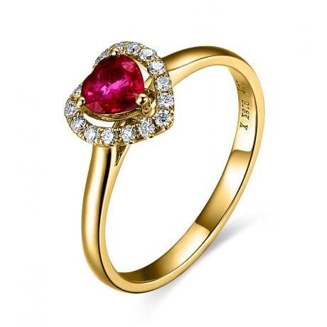 Bague glamour rubis et diamants en or jaune - Mon coeur