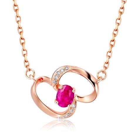 Pendentif papillon Or rose -  Rubis et Diamants en pendeloque