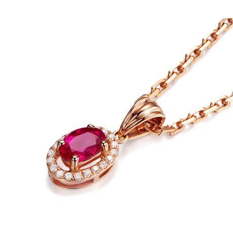 Pendentif Madame Or rose 18 carats. Rubis ovale diamants pendeloque