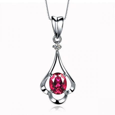 Pendentif solitaire - Or blanc - Rubis et diamant en pendeloque