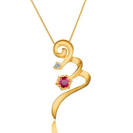 Pendentif tortillon en rubis et diamant - Or jaune