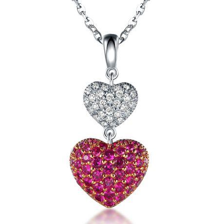 Pendentif double coeur rubis et diamants sertis grains - Or blanc