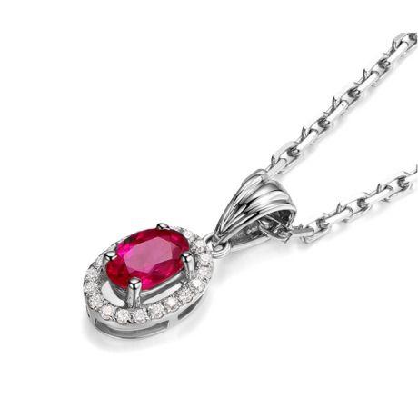 Pendentif Madame Or blanc 18 carats. Rubis ovale diamants pendeloque