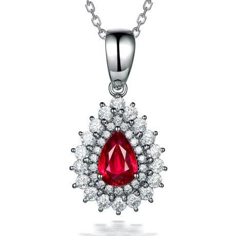 Pendentif rubis rouge vif taillé poire. Diamants sertis et Or blanc
