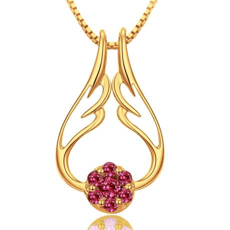 Pendentif aile d'ange - Pendentif ailes d ange or jaune - Rubis