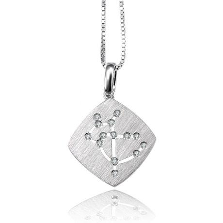 Pendentif zodiaque - Constellation sagittaire - Or blanc, diamants