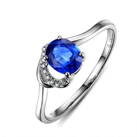 Bague Solitaire - Saphir et Diamants - Or blanc 18 carats