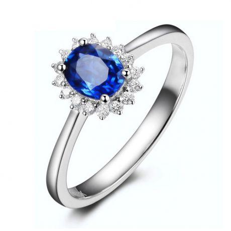 Bague Saphir ovale et diamants - Or blanc 18 carats