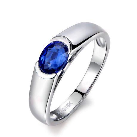 Bague de fiançailles saphir bleu intense et or blanc 18cts