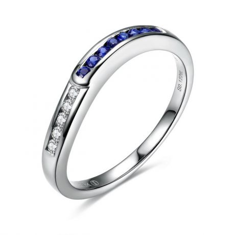 Bague Duale diamants saphirs et Or blanc