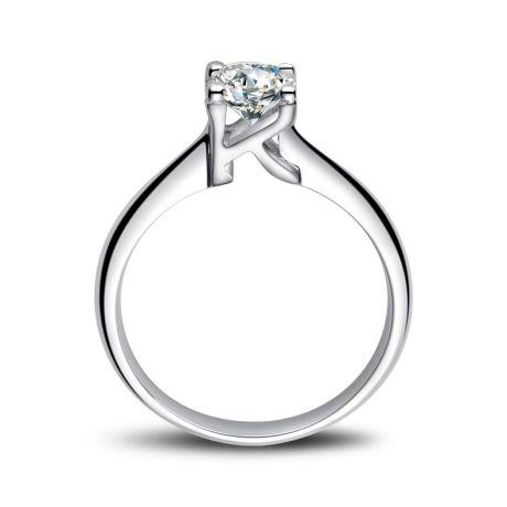 Bague en forme de lettre - initiale K - Diamant, or blanc