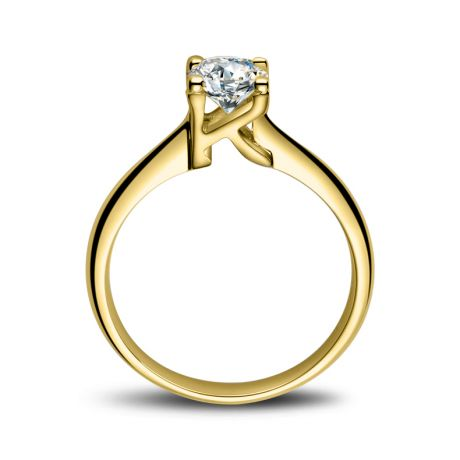 Bague en forme de lettre - initiale K - Diamant, or jaune