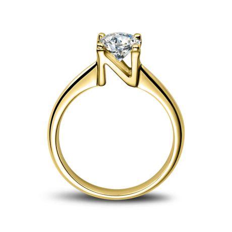 Bague prénom - Lettre N - Diamant, or jaune