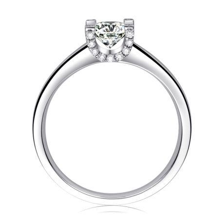 Bague lettre de l'alphabet - Initiale U ou C - Or blanc, diamants