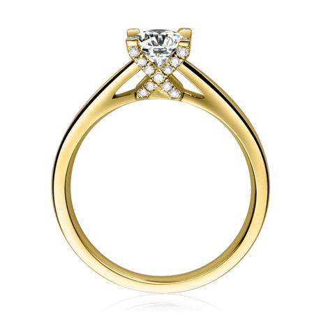 Bague alphabétique - Initiale X - Or jaune, diamants