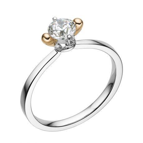 Bague solitaire 2 ors en forme d'allumette - Diamant 0.50ct
