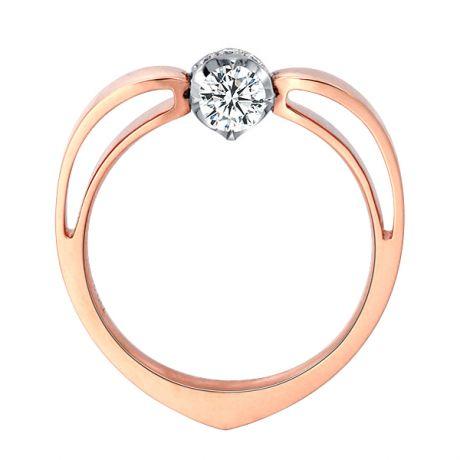 Solitaire anneau bombé - Or blanc et rose - Couronne diamants 0.16ct