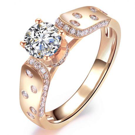Bague Fiançaille Solitaire Or rose. Diamants 0.80ct