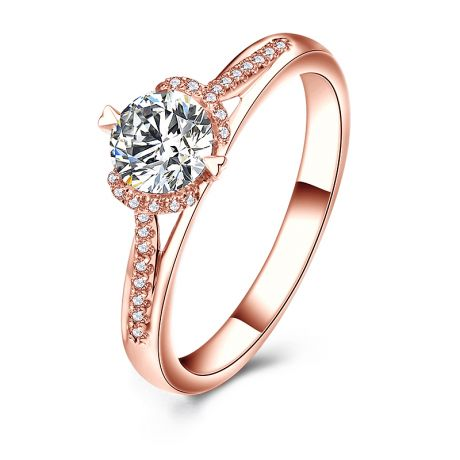 Bague solitaire Or rose 0.45ct. Diamant central 0.35 carat