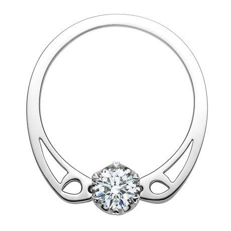 Bague pendentif solitaire or blanc 18 cts - Diamants VS/H 0.41ct