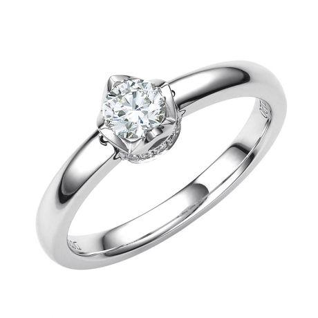 Solitaire contemporain or blanc et diamants 0.35ct - Bague pendentif