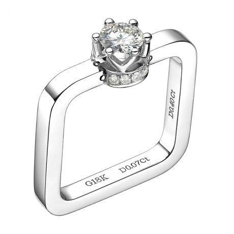 Bague pendentif solitaire carré - Or blanc, diamants 0.47ct