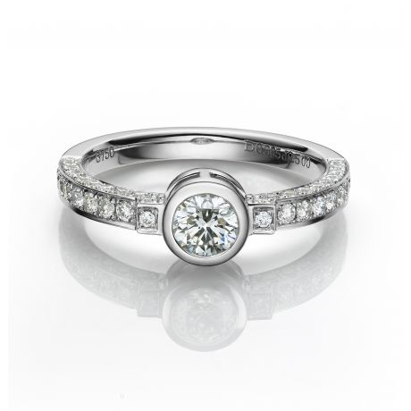 Solitaire diamant clos - Demi tour en diamants et monture or blanc
