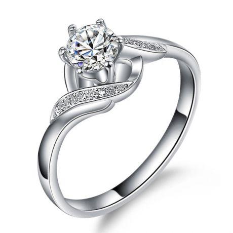 Bague solitaire enlacée diamants - Bague elliptique or blanc