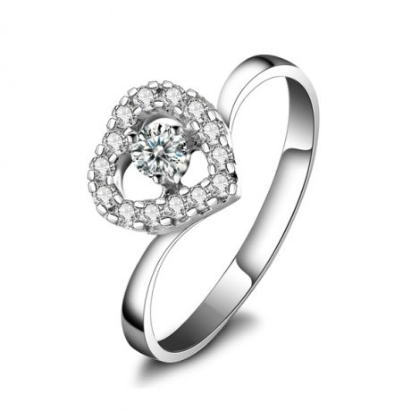 Coeur de diamants - Bague solitaire or blanc