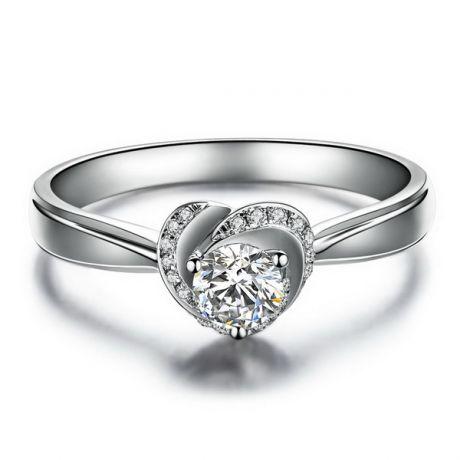 Solitaire Mon Coeur de Rose - Bague or blanc et diamants