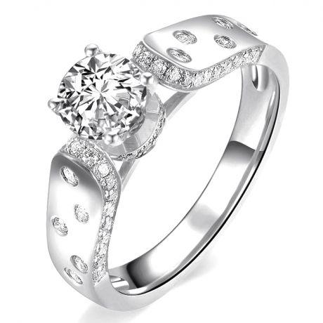 Bague Fiançaille Solitaire Or blanc. Diamants 0.80ct