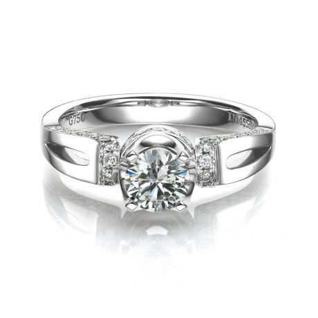 Solitaire or blanc diamants 0.66ct - Bague pendentif de joaillerie